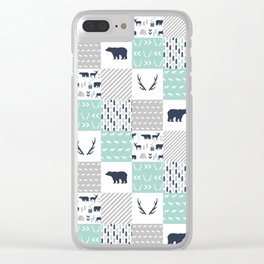 Camper antlers bears pattern minimal nursery basic navy mint white camping cabin chalet decor Clear iPhone Case