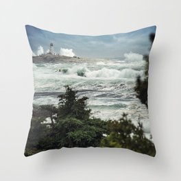 Storm Chasers at the Lighthouse Throw Pillow