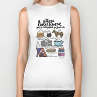 snl Biker Tanks featuring Things Leslie Knope puts Whipped Cream on by Liana Spiro