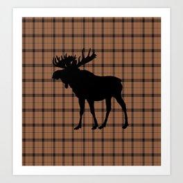 Plaid Moose: Brown Art Print