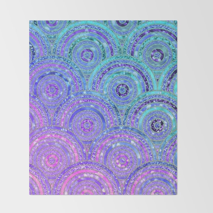 Aqua Blue Purple and Pink Sparkling Glitter Circles Throw Blanket