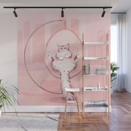 Cat Chilling in a Nest Swing Wearing Sunglasses - Bubble Pink Scene Wall Mural