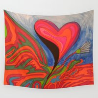 hippy Wall Tapestries featuring Hippy Hearts for Flower Children by Ana Lillith Bar