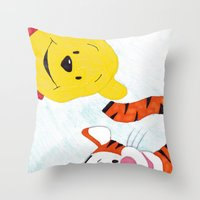 tigger Throw Pillows featuring winnie the pooh and tigger by Art_By_Sarah
