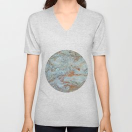 Marble in shades of blue and gold Unisex V-Neck