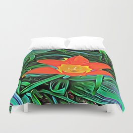Flower of Enchanted Orange Flow Duvet Cover