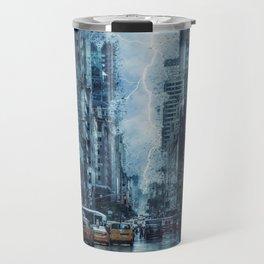 Cityscape Downtown Scene with Lightning and Rain Travel Mug
