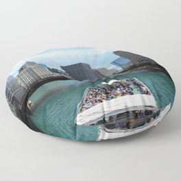 A Riverboat On Chicago River Floor Pillow