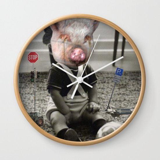 PigBaby Collage Wall Clock