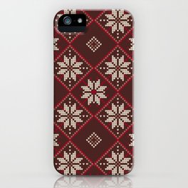 Beautiful Christmas Knitting Patterns iPhone Case