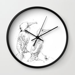 Inky Cormorants Wall Clock