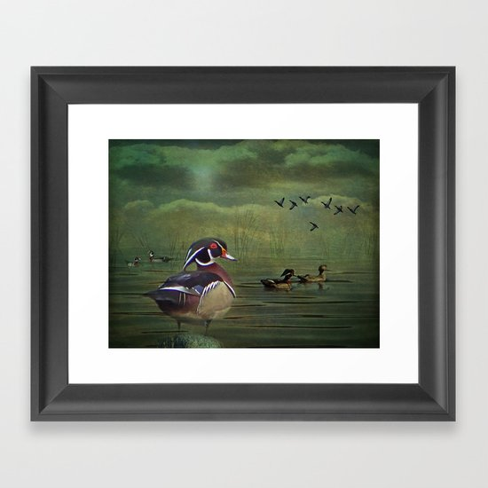Wood Ducks at the Lake Framed Art Print