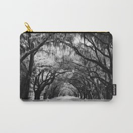 Spanish Moss on Southern Live Oak Trees black and white photograph / black and white art photography Carry-All Pouch