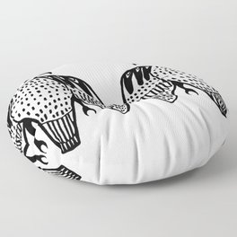 Twin Falcons Black Line Drawing Floor Pillow