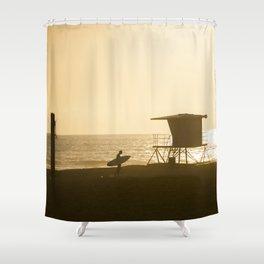 Huntington Beach Surfer Shower Curtain
