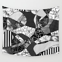 Chaotic Black And White Wall Tapestry