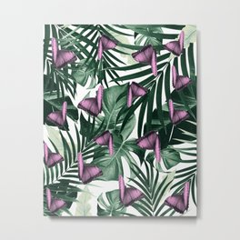 Tropical Butterfly Jungle Leaves Pattern #2 #tropical #decor #art #society6 Metal Print
