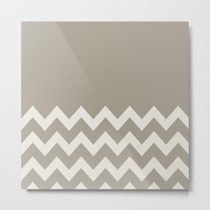 Gray Grey Alabaster Chevron Colorblock Metal Print