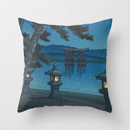 Hasui Kawase, Moonlight Over Miyajima - Vintage Japanese Woodblock Print Art Throw Pillow