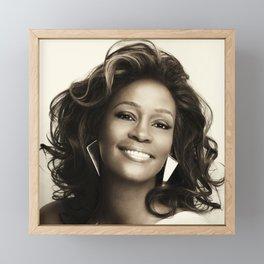Whitney Houston Black 01 Framed Mini Art Print