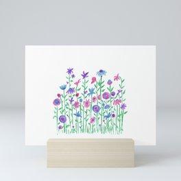 Cheerful spring flowers watercolor Mini Art Print