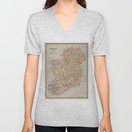 Vintage Map of Ireland (1883) Unisex V-Neck