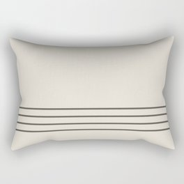 Brown and Cream Minimal Thin 4 Stripe Pattern V3 2021 Color of the Year Urbane Bronze Shoji White Rectangular Pillow