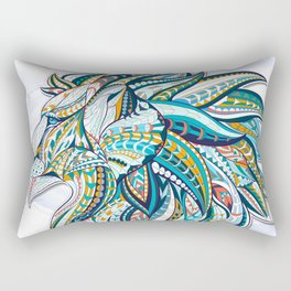Zentangle head of the lion on the grunge background Rectangular Pillow