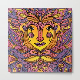 Flower fairy / Purple, orange, yellow pallete Metal Print