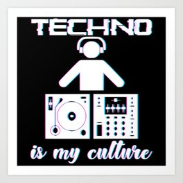 Techno Is My Culture EDM Audience Art Print