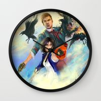 bioshock Wall Clocks featuring Bioshock Infinite by Alba Palacio