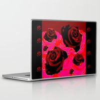 50s Laptop & iPad Skins featuring 50s ROSES BLACK PRINT by Marmalademudpie and Me