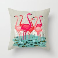 yetiland Throw Pillows featuring Flamingos by Andrea Lauren  by Andrea Lauren Design