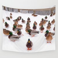 ducks Wall Tapestries featuring Winter  Ducks by August Landscapes