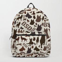 German Shepherd Dog Silhouette Pattern Backpack