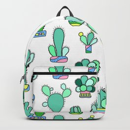 Mint and Pink Cactus, Potted Flowers Hipster Pattern Backpack