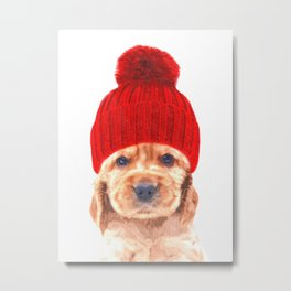 Cocker spaniel puppy with hat Metal Print