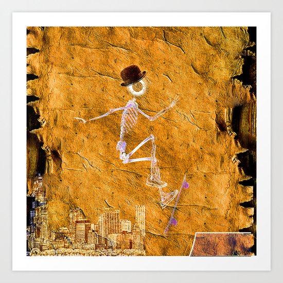 Monsieur Bone and his Skateboard Art Print