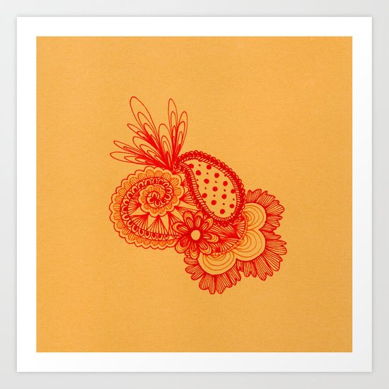 Red Arabesque Art Print