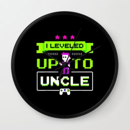 Leveled Up To Uncle Gamer Design Wall Clock
