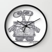 wall e Wall Clocks featuring Wall E by Michelle Zombie
