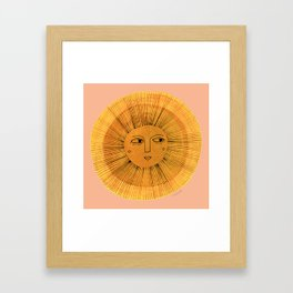 Sun Drawing Gold and Pink Framed Art Print
