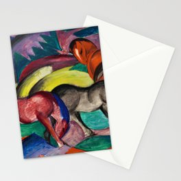 Three Horses by Franz Marc Stationery Cards