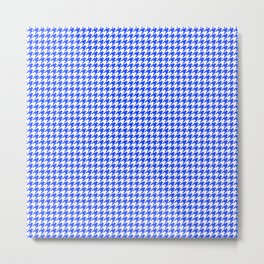 Blue Houndstooth Pattern Metal Print