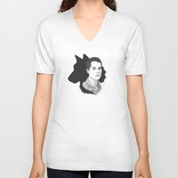 stiles V-neck T-shirts featuring Stiles Teen Wolf Portrait by Kjerstin A