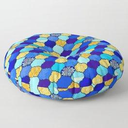 moroccan tiles in blue, aqua and gold Floor Pillow