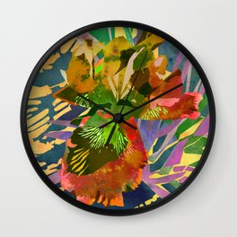 Watercolor Iris Flower with Shadows - Gold Wall Clock