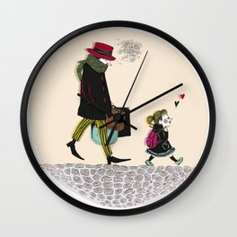 Sad gentleman et little girl Wall Clock