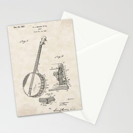 Banjo Vintage Patent Hand Drawing Stationery Cards