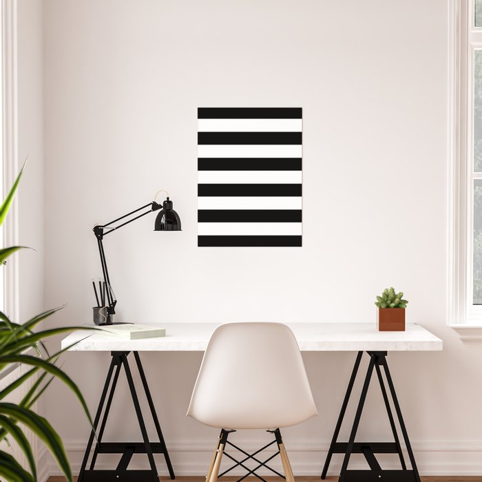Stripe Black & White Horizontal Poster